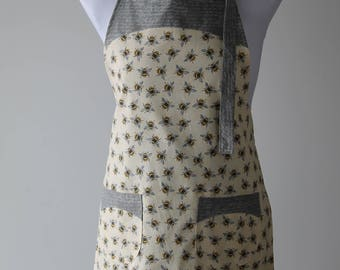 Bee Apron, REDUCED because reverse print is UPSIDE DOWN