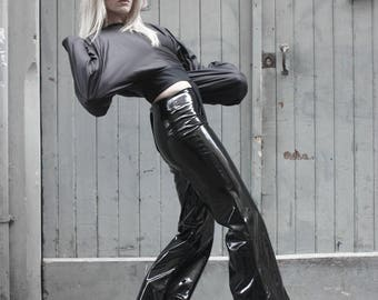 h o g t i e collection - vinyl pvc bell-bottom pants with medium waist facing and long zip on the back - MADE TO ORDER