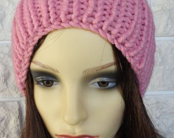 Hand Knitted Women's Pink Winter Hat With White pompom - Free Shipping