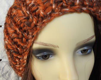 Hand Knitted Random Orange And Brown Women's Winter Hat With A Dark Brown Pompom - Free Shipping