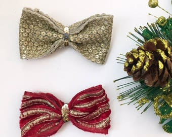 Holiday bow set/christmas bows/red and gold bow set/toddler bows/toddler headbands/newborn bows/