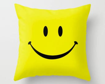 Smiley Face Pillow, Yellow Cushion Cover, Cute Decorative Pillow, Funny Throw Pillow, 16x16 18x18, Happy Smile Pillow, Cushion and Insert