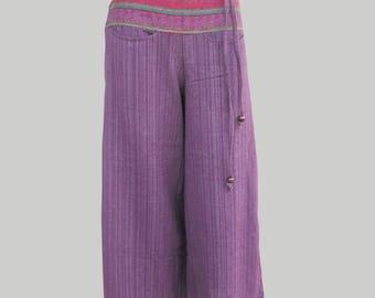 SALE 20% off and Free Gift !!! ** Hmong Pants Wide Leg Cotton Pants for Ladies Boho Hippie Trouser Ethnic Purple Pants