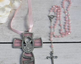 FAST Shipping!!! Beautiful Handcrafted Baptism Rosary with a Crib Medal, Crib Medallion, Christening Rosary, Baptism Gift, Christening Gift