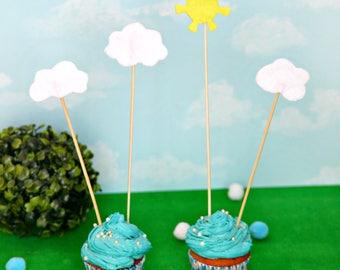 Sun cake topper, Cloud cake topper, sun cupcake topper, summer cake topper, summer party, sunshine cake topper, baby shower cake topper
