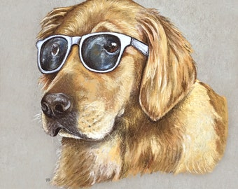 Cool Golden Retriever Print