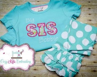 Sister Shirt, Sister Outfit, Shirt and Capris Set, Big Sis Shirt, Personized Sister Shirt, Embroidery Applique Shirt, Pregnancy Reveal Shirt