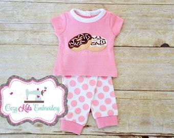 Donut Doll pajamas, Donut Doll Pajama, Doughnut doll pajama, Doll pajama, doll pajamas, doll pj, applique embroidery