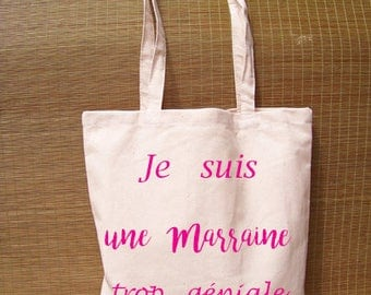 Bag Tote bag message I'm a godmother cool reusable, eco-friendly - customizable