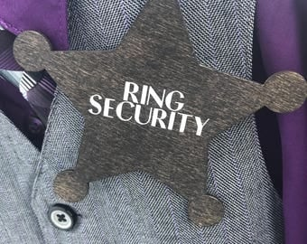 Ring security ring bearer badge - wedding decor - ring bearer pin - ring guard