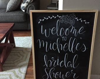 Large Chalkboard - Custom    Chalkboard   Bridal Shower Chalkboard   Shower Chalkboard   Custom Welcome Sign   Welcome Chalkboard   Sign