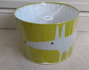 New! 30cm Drum Lampshade in gorgeous SCION Mr Fox Kiwi Lime Green & Grey. Ceiling Shade, Table Lampshade. Kids Bedroom.