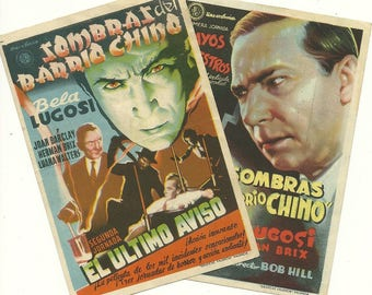 Shadows of Chinatown (1936), with Bela Lugosi. Lot of 2 vintage Spanish movie handbill / flyer