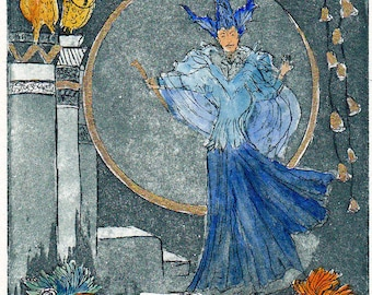 Queen of the night-opera-collecting-decoration apartment-original-etching print graphic miniature