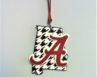 Hand Made Wood Alabama Crimson Tide Houndstooth State Christmas Tree Ornament
