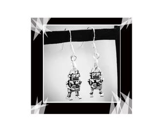 Robot Earrings, 925  Silver Wires, Robotics I Robot, Lego Club, Technology Engineer