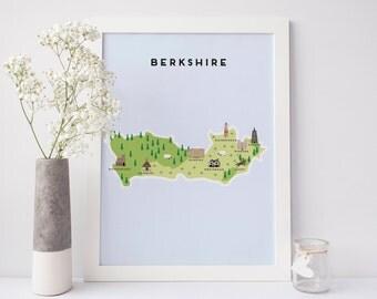 Mapa de Berkshire - mapa ilustrado de Berkshire