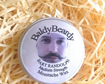 Medium strength moustache wax - Bart Randolph  - a medium hold easy to apply styling wax for moustache care. BaldyBeardy moustache products