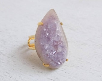 Amethyst Ring, Druzy Ring, Amethyst Druzy Ring, Large Gemstone Ring, Gold Stone Ring Adjustable Ring Statement Ring Purple Drussy Ring G3-45