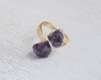 Amethyst Ring, Raw Amethyst Ring, Crystal Ring, Gemstone Ring, Small Stone Ring Purple Stone Ring Two Stones Ring Statement Ring Gift G5-757