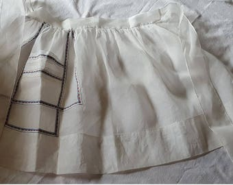 Vintage White Organdy Hostess Apron Julia's Original
