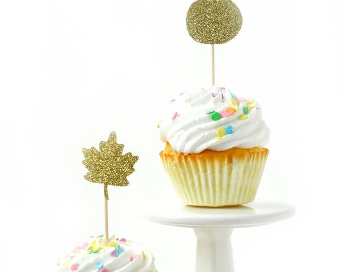 Pumpkin/Leaf Gold Glitter Cupcake Toppers, Gold Fall Toothpicks, Gold Party Decor, Food Decoration, Harvest Decor, Halloween Party