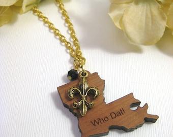 Who Dat Necklace, Louisiana Necklace, Fleur de lis Necklace, Louisiana Jewelry, New Orleans Saints- Vieuxtique Original