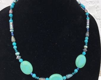 Turqouise Beaded Matinee Necklace
