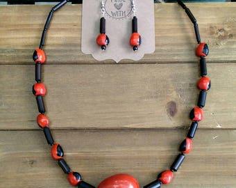 Tagua Bamboo and Huayruro Beaded Jewelry Set ~ Rain Forest Jungle Style Necklace and Earrings ~ Amazonian Style ~ Wayruru ~ Huayruru ~ Red