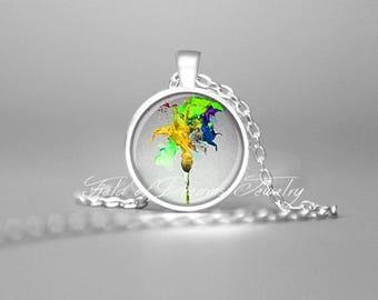 PAINTERS PAINTBRUSH NECKLACE Artist Palette Art Teachers Gift Gifts for Artists Artist Gift Artist Necklace Artist Jewelry Painters Palette