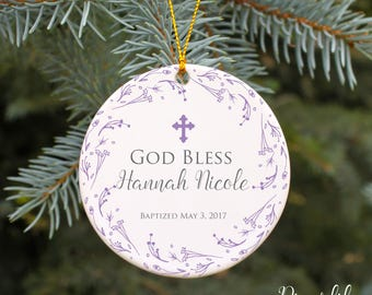 Christening Ornament Baptism Ornament God Bless Baby Girl Personalized Gift Christmas Ornament Girls Baptism Gift Custom Gift for Baptism
