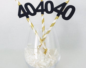 12 Striped Birthday or Anniversary Party Straws - Any Age - 40 - 21 - 30 - 16 - 50 - 60 - 100 - Birthday Party - Wedding Anniversary