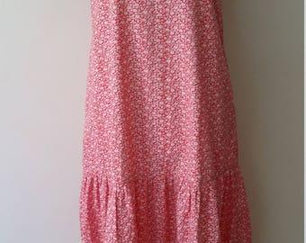 Cotton frock, S, M, drop waist dress, maternity dress, vintage dress, red dress, floral dress, summer dress, fall dress, cotton dress