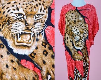 Vintage Batik Swim Cover // Leopard Novelty Print, Red 90s Dress, Crazy Animal Dress, 1990s Shirt Dress, Women Size Medium, Large
