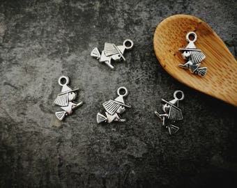 10pcs charms witch, halloween, silver, Metal charms 13 x 10 mm
