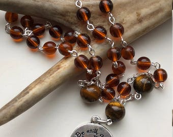 "Handmade Anglican Rosary, Amber Czech Glass, Tigers Eye, Episcopalian Prayer Beads, ""Be Still and Know That I am God"", Free Ship USA"