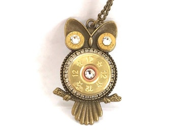 Brass Owl 12 Gauge and 223 Caliber Bullets Pendant Necklace with Swarovski Crystals, Women's jewelry, Recycled bullets, Bullet jewelry