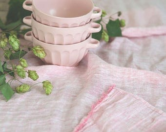 Pink linen table runner, Long sheer linen table runner, Gauze wedding table runner, Tablecloth centerpiece, Tumble dried linen