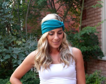 CLEARANCE!!! Seafoam Blue Yoga Twist Headband, Yoga Headband, Boho Hair band, Twist Headband, Twist Headwrap, knot headband