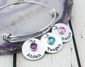 Custom Hand Stamped Mother Bracelet - Personalized Bangle Bracelet for Mom - Mom Bracelet with Kids Names - Mom Gift - Hand Stamped Jewelry