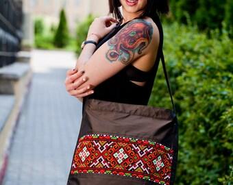Black canvas shoulder bag/ Black canvas shoulder handbag/ Black canvas tote with Ukrainian embroidery/ Ukrainian embroidery/ Ukrainian gift.