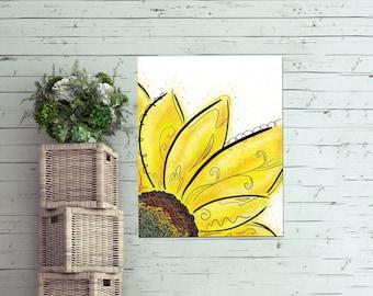 Kids Nursery Flower Decor, Sunflower On Canvas, Sunflower Canvas Art, Yellow Flower Canvas, Yellow Flower Wall Art, Sunflower Art Gift