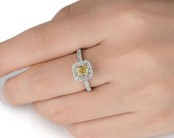Diamond Engagement Ring, Fancy Yellow Ring, Women Jewelry, Solitaire Diamond Ring, Diamond Halo Setting, Wedding Engagement Ring For her