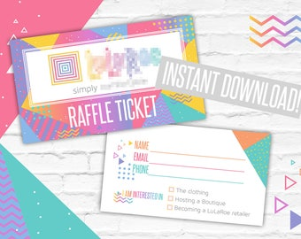 Raffle Ticket Cards, Minimal Design, Geometric Instant Download, Home Office Approved, Promotion Card , Fashion Retailers