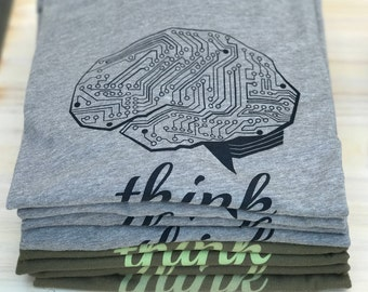 Techie gift, Brain graphic tee, Gifts for him, brain science, THINK TECH shirt by Story Spark , Mens T-shirt, technology tshirt, tech guy