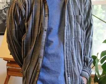 Striped Blue & Grey Button Up (As is)