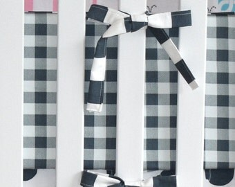 SHIPS TOMORROW- SALE - plaid and stripe crib bumpers, charcoal, gunmetal