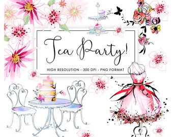 Digital Scrapbooking Floral Graphics Clip Art / Tea Party! / digital cardmaking / Wedding invites