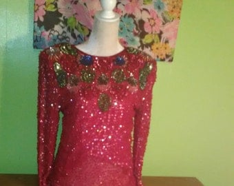 Vintage Sweelo Beaded and Sequined Silk Blouse - New Year's Eve Party