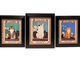 Set of 3 - VINTAGE Cat Art Prints, Calico Cat, Orange Cat & Tabby Cat, Kittens, Cats, Framed Cat Art Prints, Black Wood, Folk Art, Accent